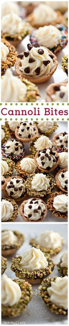 Love Wedding Cakes Cannoli Bites Mini Desserts Recipe via Cooking Classy - The BEST Bite Size Dessert Recipes - Mini, Individual, Yummy Treats, Perfectly Pretty for Your Baby and Bridal Showers, Birthday Party Dessert Tables and Holiday Celebrations! Mini Desserts, Mini Dessert Recipes, Brownie Desserts, Bite Size Desserts, Party Desserts, Sweet Recipes, Birthday Desserts, Italian Desserts, Diabetic Desserts