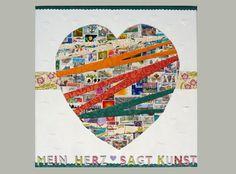 Briefmarken Postage Stamp Collage Mein Herz sagt Kunst