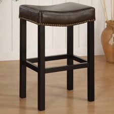 "Tudor 30"" Backless Leather Barstool"