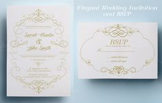 Check out Elegant Wedding Invitation and RSVP by annago on Creative Market