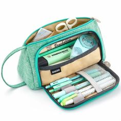 EASTHILL Medium Capacity Pencil Pen Case Bag Pouch Holder Multi-Slot School Supplies for Middle High School Office College Girl Adult Simple Storage Mint Green: Arts, Crafts & Sewing Pencil Bags, Pencil Pouch, Pouch Bag, Korean School Supplies, Cute School Supplies, College Supplies, Office Supplies, School Office, High School