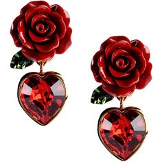 Dolce & Gabbana Earrings ($190) ❤ liked on Polyvore featuring jewelry, earrings, red, red jewelry, floral earrings, dolce gabbana earrings, earring jewelry and floral jewelry