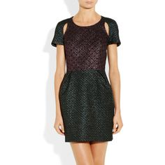 Markus Lupfer Metallic wool-blend brocade dress ($740) ❤ liked on Polyvore