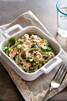 Pasta with Salmon and Creamy Blue Cheese | FamilyFreshCooking.com