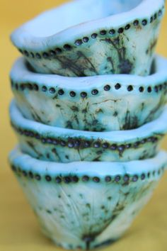Queen Anne's Lace Dipping Bowls  Set of Four by kaytwoclay on Etsy, $20.00