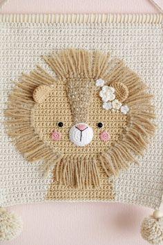 PDF PATTERN – Wall hanging decor pattern – Wall decor pattern – Crochet decor – Nursery wall decor – Crochet lion – Kids room decor - Sites new Crochet Lion, Crochet Amigurumi, Crochet Wall Hangings, Tapestry Crochet, Diy Crochet Wall Hanging, Crochet Crafts, Crochet Projects, Single Crochet, Double Crochet