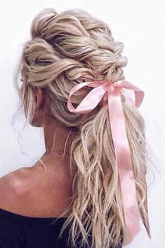 bridal hair accessories to inspire hairstyle swept ponytail with pink ribbon ulyana aster via instagram