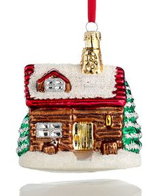 Holiday Lane Christmas Ornament, Glass Log Cabin