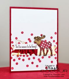 Crush On Colour: It's a very FANCY Christmas (and Inspired By.) (Stampin' Up Visions of Santa, Tis The Season, Dotty Angles) Chrismas Cards, Create Christmas Cards, Noel Christmas, Xmas Cards, Holiday Cards, Hanukkah Cards, Scrapbook Cards, Scrapbooking, Paper Cards