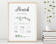 """Items similar to """"Leaves"""" Birth Announcement / Poster on Etsy - Geburtsanzeige"""