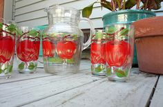 Cute. // Apple pitcher and glasses by Softies Central, via Flickr