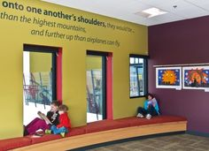 window seating and quotes: Waukesha (Wis. Elementary School Library, Primary School, Elementary Schools, School Libraries, Library Furniture Design, Library Design, Kids Library, Library Ideas, Manchester Library