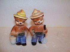 Vintage Smokey The Bear SALT & PEPPER SHAKERS Real Cute! | eBay