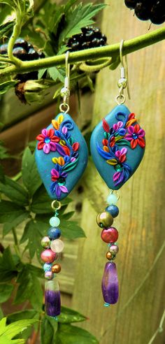 - SOLD - Polymer Clay Flower Earrings  Polymer Clay by DeidreDreams on Etsy, €21.95