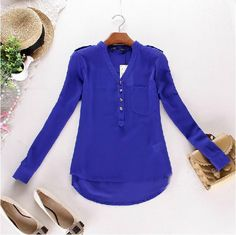 Blue V Neck Long Sleeve Buttons Chiffon Blouse