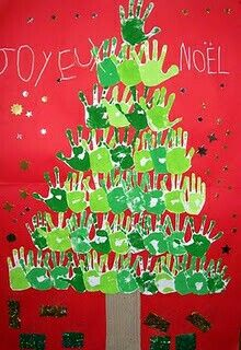 Kids' Crafts ~ Paint a tree using only hands and paint. and with time for collective cleanup 😀 Kids Crafts, Preschool Christmas Crafts, Christmas Activities, Christmas Projects, Christmas Themes, Holiday Crafts, Christmas Decorations, Hand Crafts, Bulletin Board Tree