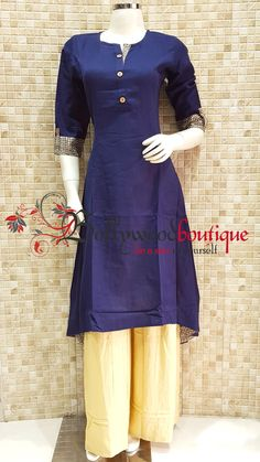 Designer Kurti 81 Fabric : Matte Cotton. Color : Navy Blue. Style : Designer Long Kurti. Product Details :  Designer long kurti in Matte cotton ideal for everyday use as well as small get together. Designer long kurti in tail cut style. Price : Rs: 720 /-