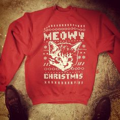 MEOWY CHRISTMAS SWEATSHIRT....ugly Christmas sweater party