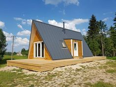 Duo 100, Estonia Modern Backyard Design, A Frame House, Compact Living, Affordable Housing, Kit Homes, Building A House, Shed, Floor Plans, Outdoor Structures