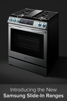 Samsung has initiated their biggest cooking product launch ever with their all new slide-in ranges. Equipped with a curved handle and pro-style knobs, these sleek units provide substantial cooking versatility and modern features while seamlessly integrating into your kitchen setup. Wi-fi connectivity and voice-enabled controls let you operate your range and monitor its activity from anywhere. Slide In Range, Kitchen Sink Accessories, Small Oven, Convection Cooking, New Samsung, Build Your Dream Home, Black Stainless Steel, Ranges, Wi Fi