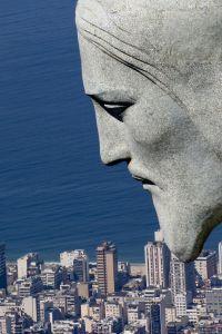 Face of Cristo Redentor - Rio de Janeiro, Brazil.