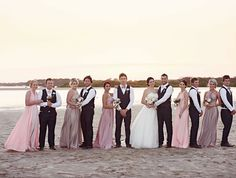 Beautiful Goddess by Nature bridesmaids! Love the colour gradation of the dresses!