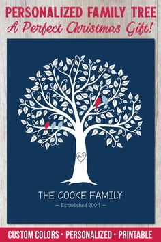 Christmas Gift Ideas - Personalized Family Tree - Christmas Gift Ideas for Parents, Personalized PRINTABLE Family Tree, Gift from Kids, Christmas Pres - #
