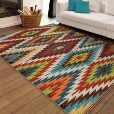 Orian Rugs Indoor/Outdoor Bright Aztec Prescott Multi Area Rug, Multicolor