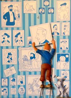 Hergé & Tintin / Tintin hangs a portrait of his creator on the wall of Tintin fame Collection Tintin, Blake Et Mortimer, Tableau Pop Art, Comic Art, Comic Books, Ligne Claire, My Childhood Memories, Cultura Pop, Children's Book Illustration