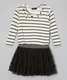 Take a look at this Black & White Sequin Stripe Ruffle Dress - Girls by Hannah Banana on #zulily today!