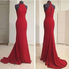 Red mermaid long prom dress evening dress with train