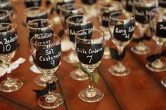 Wine Glass Wedding Favor & Seating Chart for by OaktownWineCrafts