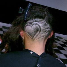 undercut love - New Hair Design Hair Tattoo Designs, Undercut Hair Designs, Buzzed Hair, Shaved Hair Designs, Undercut Hairstyles, Different Hairstyles, Blonde Color, Dream Hair, Crazy Hair