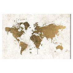Mapamundi White Gold Canvas Print, Oliver Gal