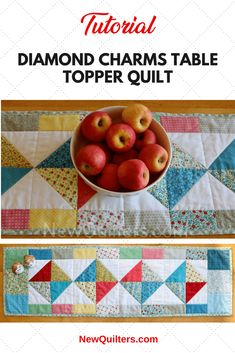 Photos of Diamond Charms table runner quilt Patchwork Table Runner, Table Runner And Placemats, Quilted Table Runners, Table Topper Patterns, Quilted Table Toppers, Table Runner Tutorial, Table Runner Pattern, Small Quilts, Mini Quilts