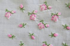 Vintage Embroidered Pink Rose Buds Handkerchief by shabbyshopgirls, $12.50