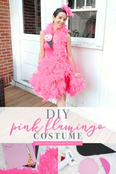 Need a cute DIY Halloween costume? Try this super cute homemade pink flamingo co. Need a cute DIY Halloween costume? Try this super cute homemade pink flamingo costume by so. Animal Halloween Costumes, Diy Halloween Costumes For Women, Halloween Kostüm, Diy Costumes, Costume Ideas, Animal Costumes For Adults, Children Costumes, Adult Costumes, Vintage Halloween