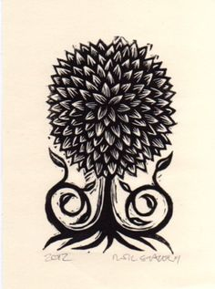 Little Tree Linoleum Block Print by HorseAndHare on Etsy, $10.00