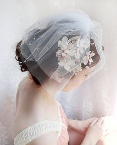 tulle rhinestone birdcage veil short mini wedding by thehoneycomb