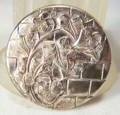 Vintage Sterling Silver Repousse Ivy Pin by GretelsTreasures