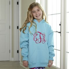 Girls Scuba Blue Hooded Sweatshirt with Hot Pink Initials – Lolly Wolly Doodle
