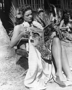 """Gene Tierney on the set of """"Son of Fury"""", 1942"""