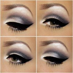 Gray,white, pinkish eye make-up
