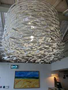 Fish chandeliers at Rick Stein's seafood restaurant in Padstow uk