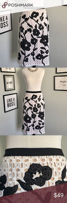 {Carlisle} Black and White Flower A-Line Skirt Gorgeous black and white flower skirt from Carlisle. Lined. Flowers decorated with black Sequins. Zipper on the side. This skirt is the perfect choice for many different occasions! In excellent condition! Carlisle Skirts A-Line or Full