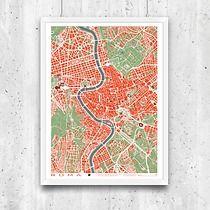 Roma - plan miasta, plakat A2, minimalmill Format A3, Run Dmc, Route 66, Vintage World Maps, Studios, Tapestry, How To Plan, Night, Artwork
