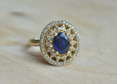 Antique Style Blue Sapphire and Diamond Ring on Etsy, $699.00