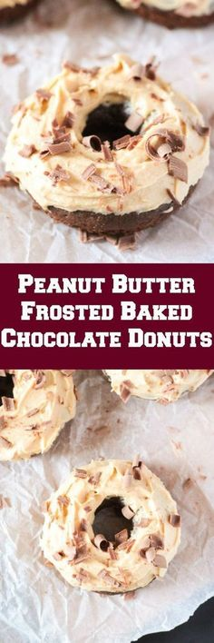 Peanut Butter Frosted Baked Chocolate Donuts The post Peanut Butter Frosted Baked Chocolate Donuts appeared first on Dessert Park. Donut Recipes, Brunch Recipes, Breakfast Recipes, Dessert Recipes, Cooking Recipes, Bread Recipes, Breakfast Dishes, Dessert Ideas, Yummy Recipes