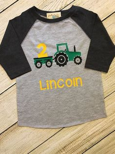 Tractor Birthday Raglan OR TShirt Choose number Red or Green Tractor boy 1 2 3 4 5 Personalized, John Deere International is part of John Deere Birthday Etsy - partialpdesigns 2nd Birthday Shirt, Tractor Birthday, Second Birthday Ideas, Farm Birthday, Boy Birthday Parties, Leo Birthday, John Deere Party, Birthday Numbers, Lifted Chevy