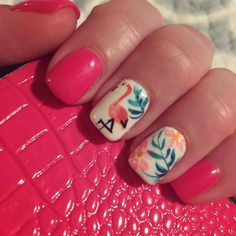 Flamingo pink manicure! Not just the color, but also have actual flamingos on one of my focus nails. Another nail features tropical flowers and leaves. It's the perfect manicure for vacation. #nailglam #nailedit #nailjewelry manicure ideas for summer